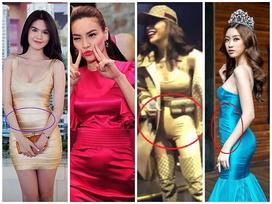 Sở hữu thân hình vệ nữ nhưng Hà Hồ, Ngọc Trinh lại thường xuyên bị váy áo tố giác vòng 2 như mang bầu