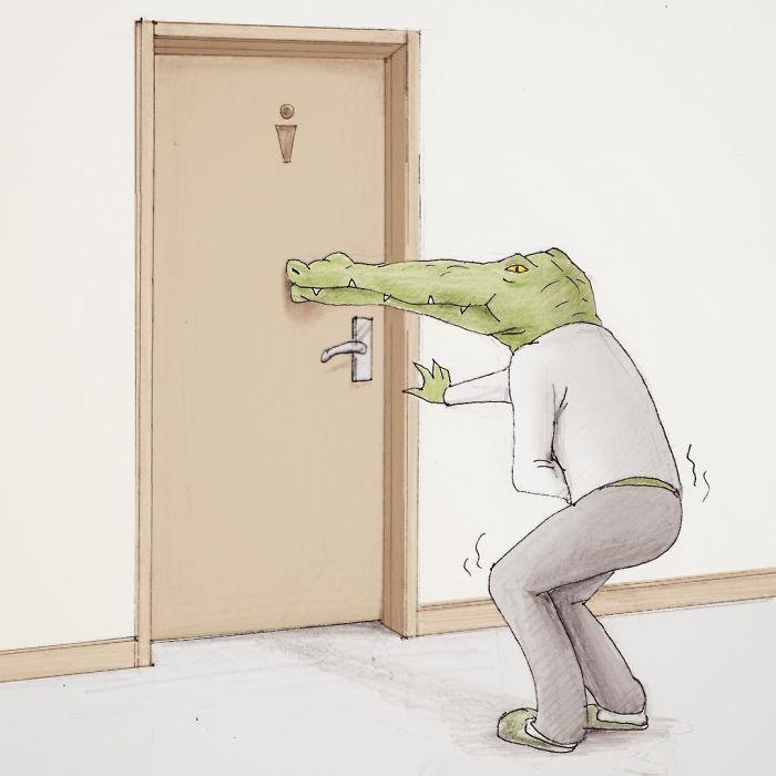 Bộ tranh: Cá sấu sẽ bi hài ra sao nếu sống như loài người?-1