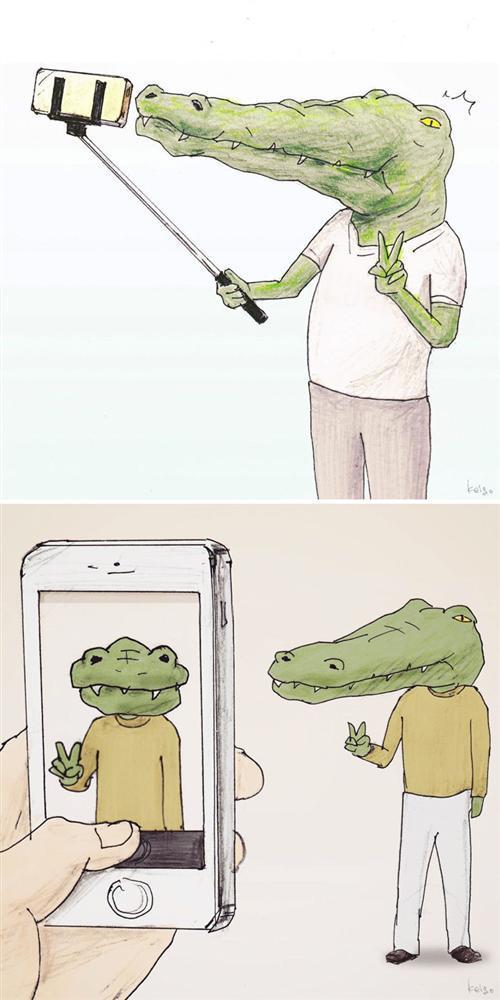 Bộ tranh: Cá sấu sẽ bi hài ra sao nếu sống như loài người?-2