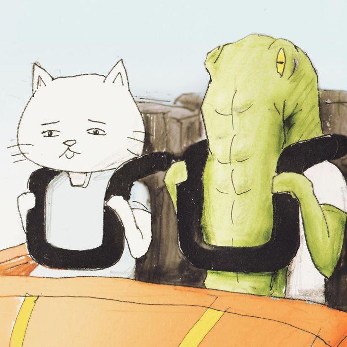 Bộ tranh: Cá sấu sẽ bi hài ra sao nếu sống như loài người?-3
