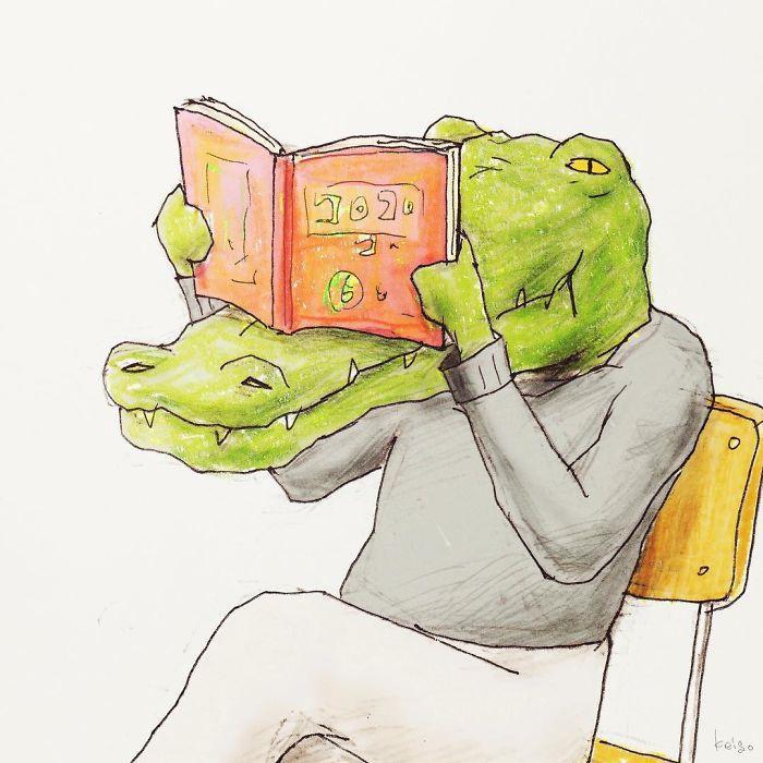 Bộ tranh: Cá sấu sẽ bi hài ra sao nếu sống như loài người?-9