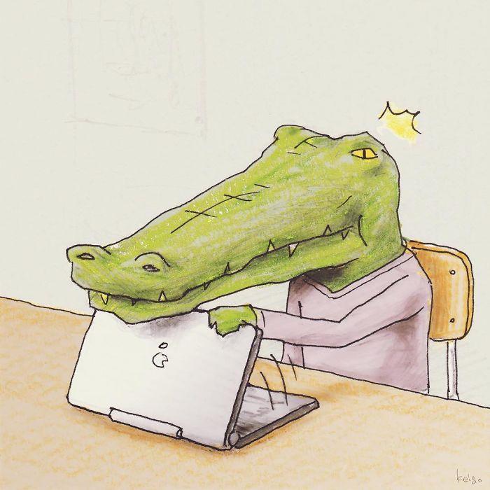 Bộ tranh: Cá sấu sẽ bi hài ra sao nếu sống như loài người?-10