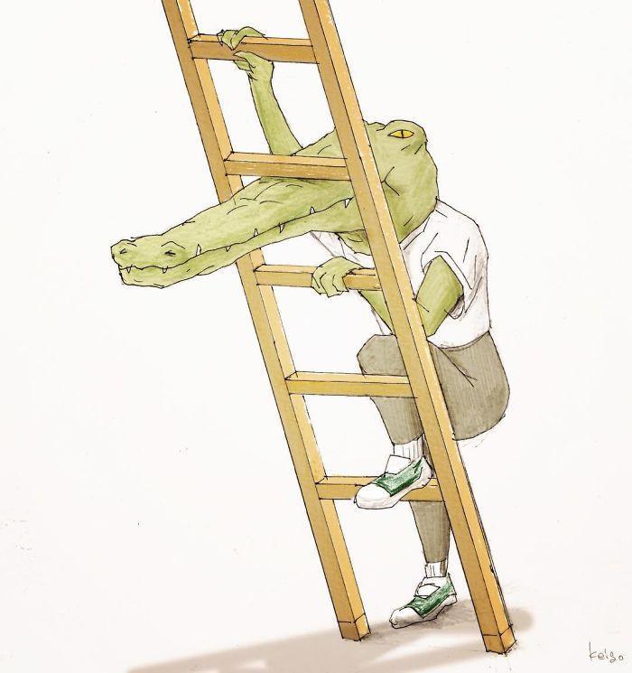 Bộ tranh: Cá sấu sẽ bi hài ra sao nếu sống như loài người?-11