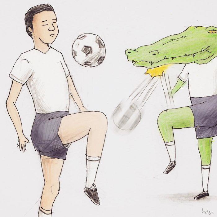 Bộ tranh: Cá sấu sẽ bi hài ra sao nếu sống như loài người?-12
