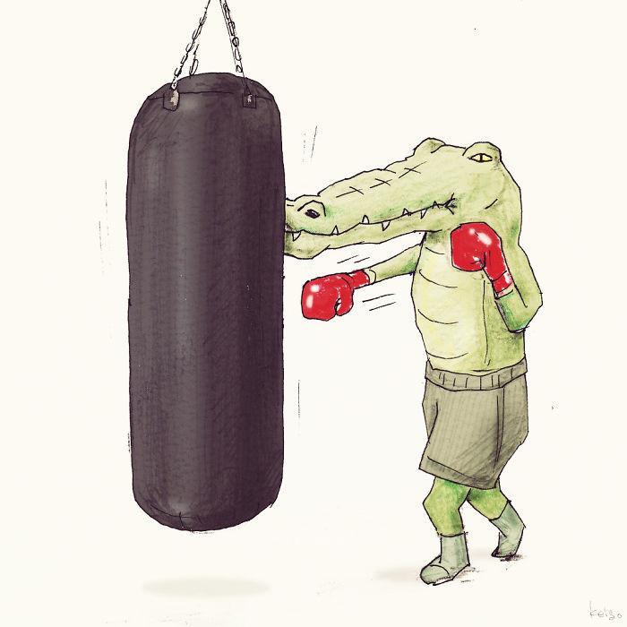 Bộ tranh: Cá sấu sẽ bi hài ra sao nếu sống như loài người?-14