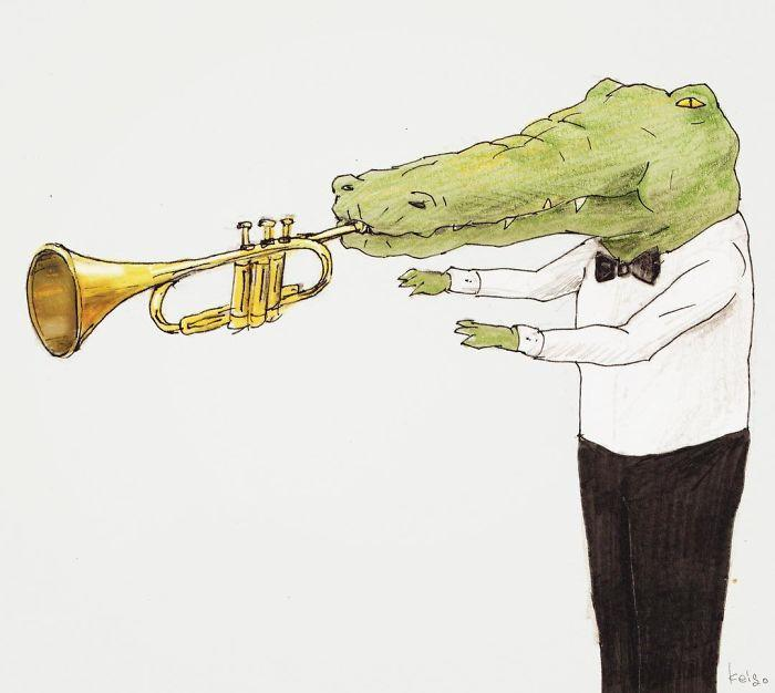 Bộ tranh: Cá sấu sẽ bi hài ra sao nếu sống như loài người?-17