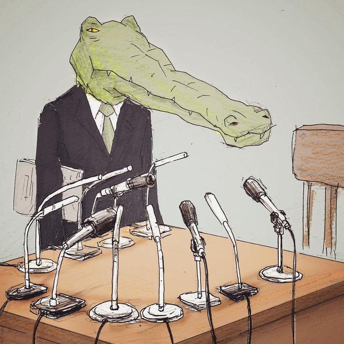 Bộ tranh: Cá sấu sẽ bi hài ra sao nếu sống như loài người?-19