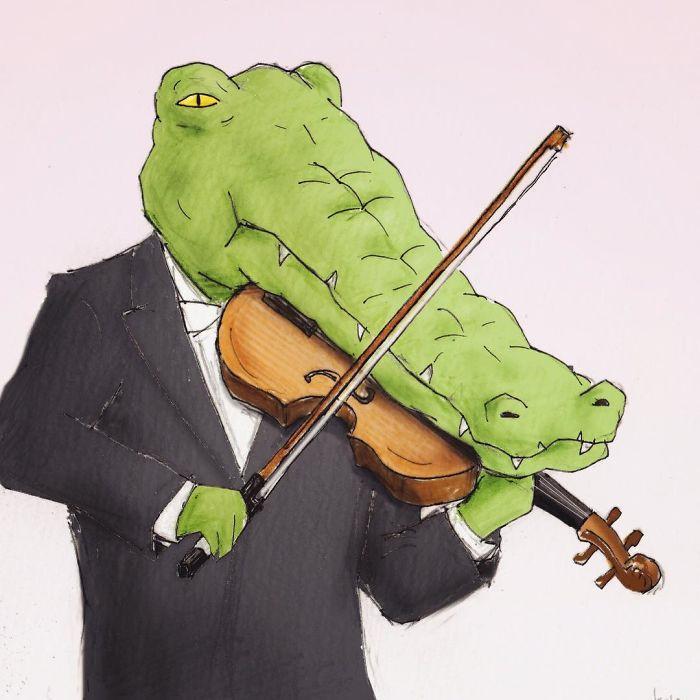 Bộ tranh: Cá sấu sẽ bi hài ra sao nếu sống như loài người?-20