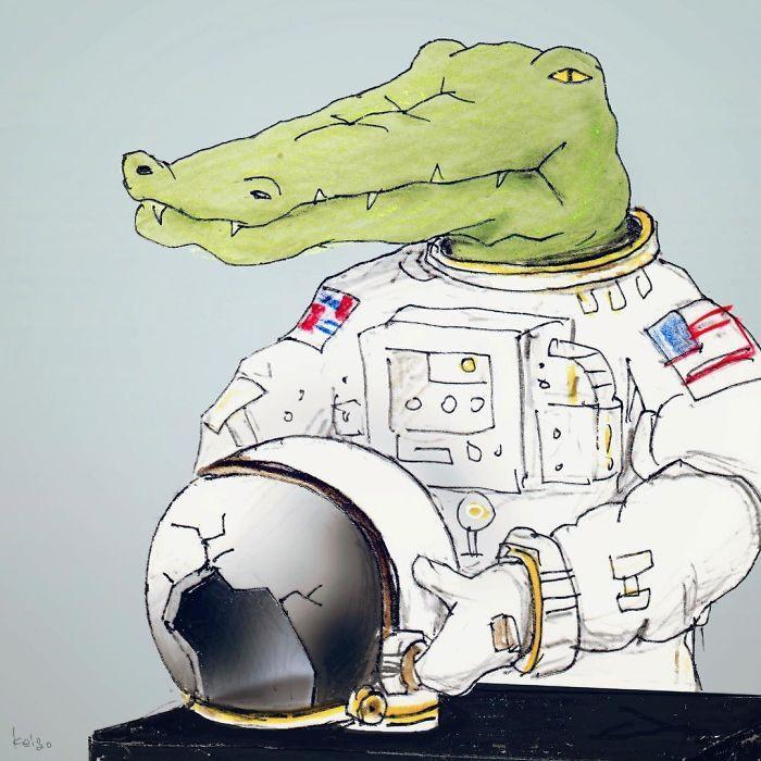 Bộ tranh: Cá sấu sẽ bi hài ra sao nếu sống như loài người?-21