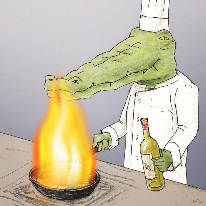 Bộ tranh: Cá sấu sẽ bi hài ra sao nếu sống như loài người?-22
