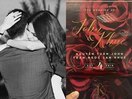 Bản nháp thiệp cưới của Lan Khuê - Tuấn John chính thức có bản xịn in hoa hồng đỏ rực