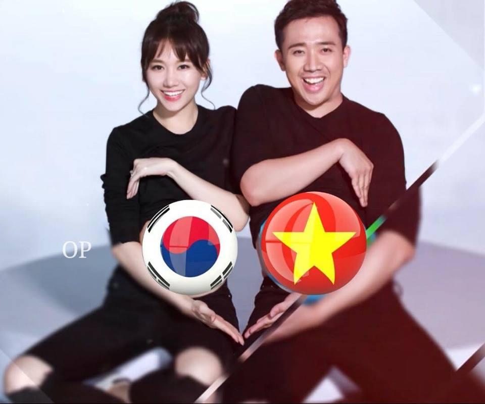 Hari Won không biết cổ vũ cho U23 Việt Nam hay Hàn Quốc