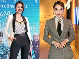 Cùng diện menswear, Thanh Hằng và Minh Hằng đẹp bất phân thắng bại trên thảm đỏ 'Mùa viết tình ca'