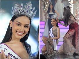 'Bá đạo' như tân Hoa hậu Chuyển giới Thái Lan 2018: Ngồi sụp xuống sàn để nhận vương miện