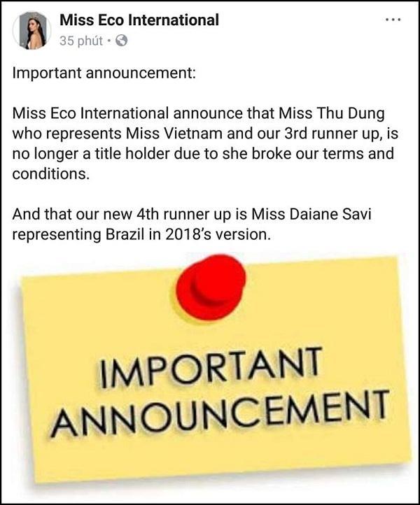 Sau khi mất danh hiệu Á quân Người mẫu, Thư Dung tiếp tục bị phế ngôi Á hậu Du lịch Sinh thái Quốc tế-3