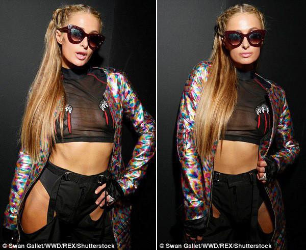 Paris Hilton mặc phản cảm khi đi xem thời trang-3