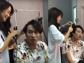 Lộ clip An Nguy tươi cười làm tóc cho Kiều Minh Tuấn