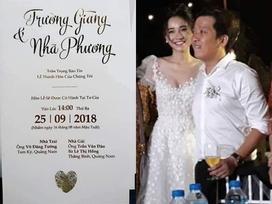 Lộ thiệp cưới trắng tinh và giản dị của Trường Giang - Nhã Phương