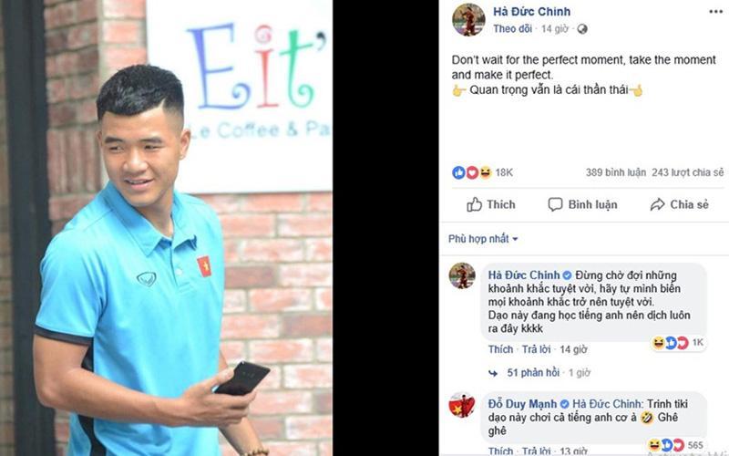 Chinh đen đăng trạng thái bằng tiếng Anh, đồng đội đặt nghi vấn anh chàng bị hack Facebook-1