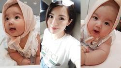 Lần hiếm hoi hotgirl Tú Linh công khai ảnh cận mặt tiểu công chúa 4 tháng tuổi