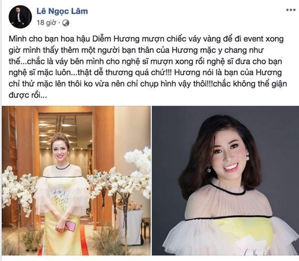 Hoa hậu Diễm Hương xin lỗi NTK vì lấy váy mượn cho người khác mặc-1