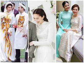 Đâu chỉ có Lan Khuê, rất nhiều mỹ nhân Việt đẹp thuần khiết khi mặc áo dài trắng trong ngày làm cô dâu