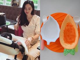 Hoa hậu Đặng Thu Thảo khoe bữa ăn rau củ đầu tiên của con gái