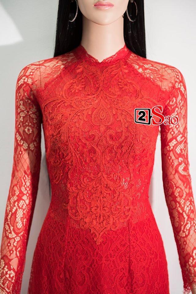 Cận cảnh bộ áo dài đỏ khác biệt của Nhã Phương trong lễ ăn hỏi tràn ngập màu trắng-3
