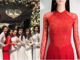 Cận cảnh bộ áo dài đỏ khác biệt của Nhã Phương trong lễ ăn hỏi tràn ngập màu trắng