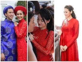 Muốn đẹp xuất sắc trong ngày ăn hỏi, hãy chọn áo dài đỏ như Nhã Phương - Hà Tăng - Đặng Thu Thảo