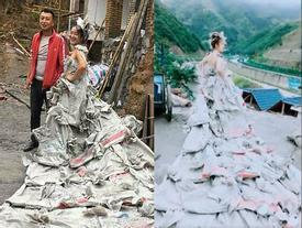 Cô dâu tự mình may váy bằng 40 vỏ bao xi măng trong 3 giờ
