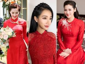 Nhã Phương nối bước Đặng Thu Thảo, Tú Anh chọn áo dài đỏ rực mong cầu may mắn trong hôn nhân