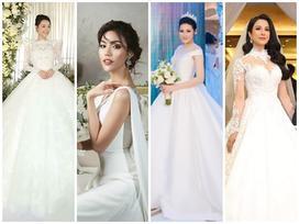 Những chiếc váy cưới đẹp như cổ tích của 5 cô dâu đình đám nhất showbiz Việt năm 2018