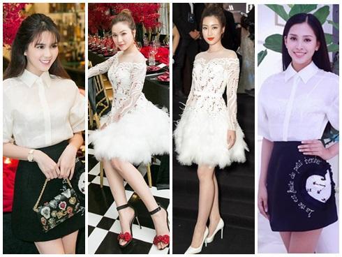 Cùng chặt chém trong mẫu váy thiên nga, Đỗ Mỹ Linh vượt mặt Quỳnh Thư nhờ layout trang điểm tươi tắn