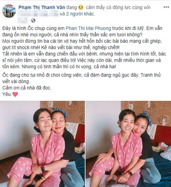 Ốc Thanh Vân bức xúc trước thông tin bịa đặt về bệnh tình của Mai Phương.