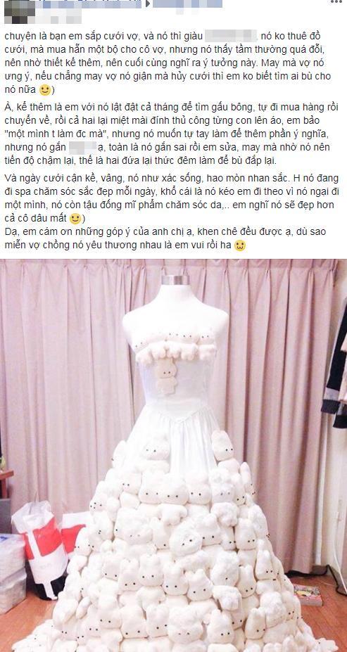 Thấy váy cưới đặt mua tầm thường, chú rể dành cả tháng thiết kế rồi gắn gấu bông lên-1
