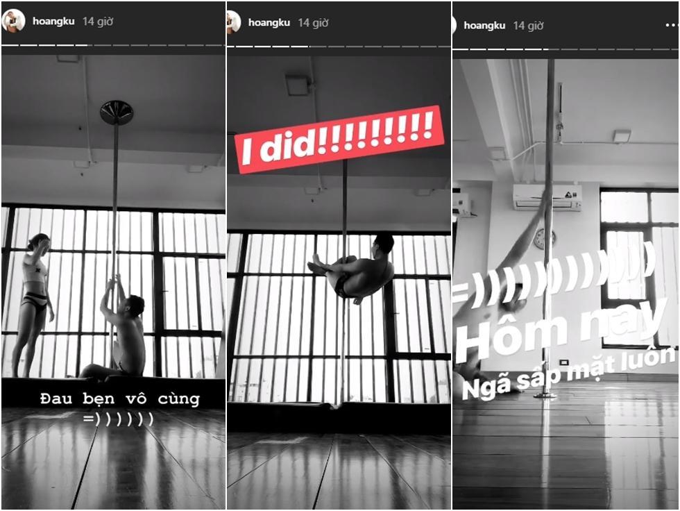 Clip funny: Stylist Hoàng Ku ngã sấp mặt trong buổi tập múa cột