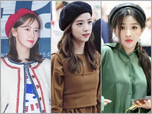 Mũ beret cổ điển phủ sóng tủ đồ sao Hàn mùa thu 2018