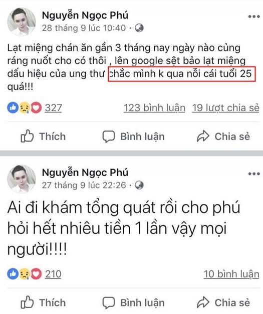 Trước khi mất, cháu ngoại quốc dân Nguyễn Ngọc Phú liên tiếp chia sẻ sự tuyệt vọng trên Facebook-5