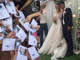 Chưa từng có: Hội bạn thân sưu tập ảnh thời 'sửu nhi' của cô dâu dán lên phong bì mừng cưới
