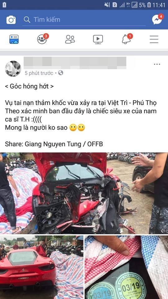 Ngựa chiến Ferrari 16 tỷ đồng của Tuấn Hưng bị nghi tai nạn thảm khốc trên quốc lộ Việt Trì - Phú Thọ-1