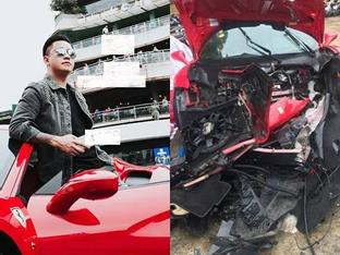 'Ngựa chiến' Ferrari 16 tỷ đồng của Tuấn Hưng bị nghi tai nạn thảm khốc trên quốc lộ Việt Trì - Phú Thọ