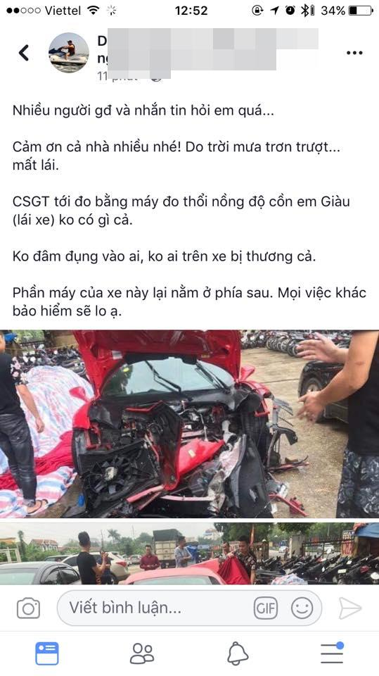 Ngựa chiến Ferrari 16 tỷ đồng của Tuấn Hưng bị nghi tai nạn thảm khốc trên quốc lộ Việt Trì - Phú Thọ-8