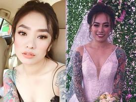 Gây bão với bức ảnh xăm kín 2 tay nhưng ngoại hình cực xinh đẹp của cô dâu mới là điều người khác xiêu lòng