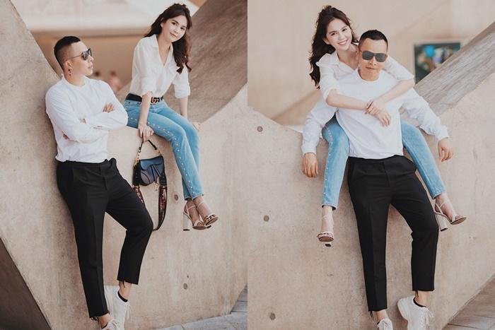 Suốt ngày diện đồ đôi tình tứ, showbiz Việt có ai thân thiết như cặp ông bầu Vũ Khắc Tiệp - gà cưng Ngọc Trinh-8