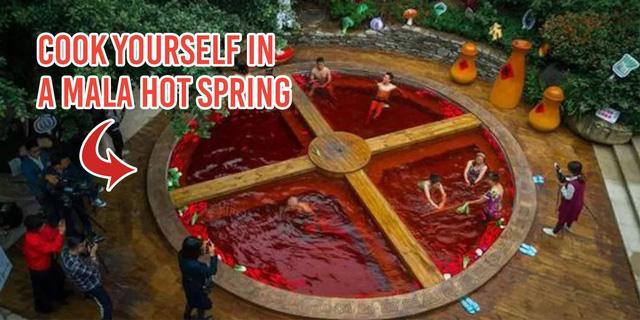 Hồ tắm nước nóng ở Trung Quốc như nồi lẩu cay khổng lồ-1