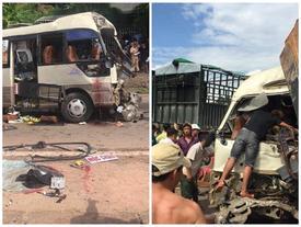 Xe đầu kéo tông trực diện xe khách, 10 người bị thương