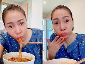 Thu Minh khoe khoảnh khắc tều môi vì ăn mỳ cay