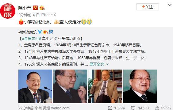 Lý Nhược Đồng, Châu Tấn và dàn sao hạng A Hoa ngữ thương xót tiểu thuyết gia Kim Dung qua đời-3