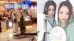 Hai cô gái Trung Quốc cosplay Thanh Xà - Bạch Xà đi mua trà sữa